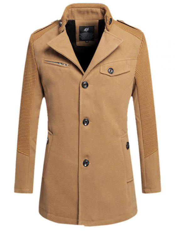 Único Breasted Turn Down gola do casaco de lã - Caqui 4XL