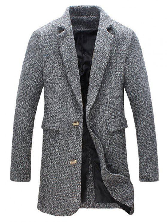 Revers Buttoned Tweed-Mantel - Grau XL
