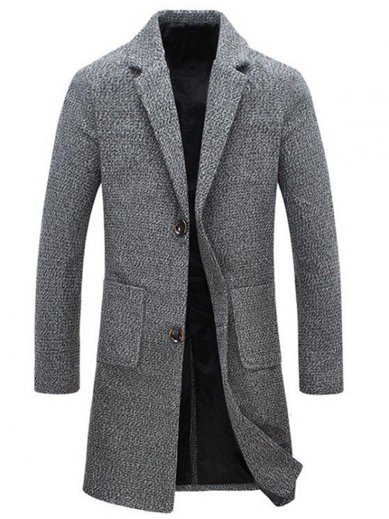 معطف التويد جيب طية صدر السترة واحدة برستد الصوفية - اللون الرمادي M