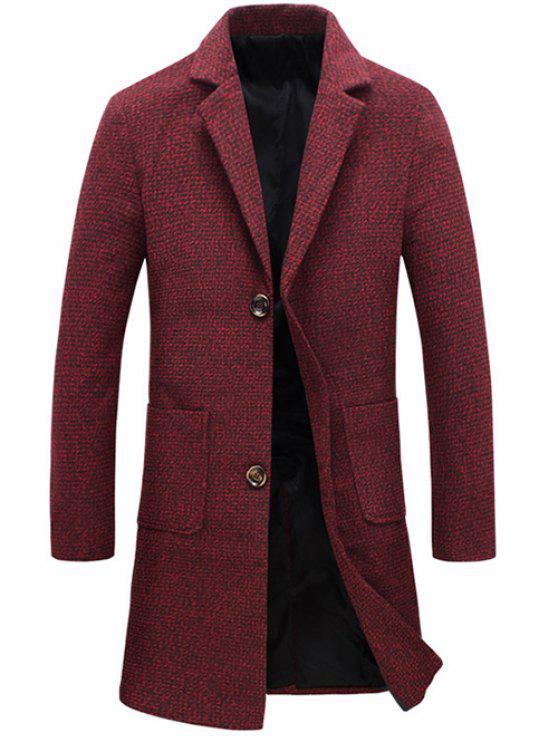 معطف التويد جيب طية صدر السترة واحدة برستد الصوفية - أحمر 5XL