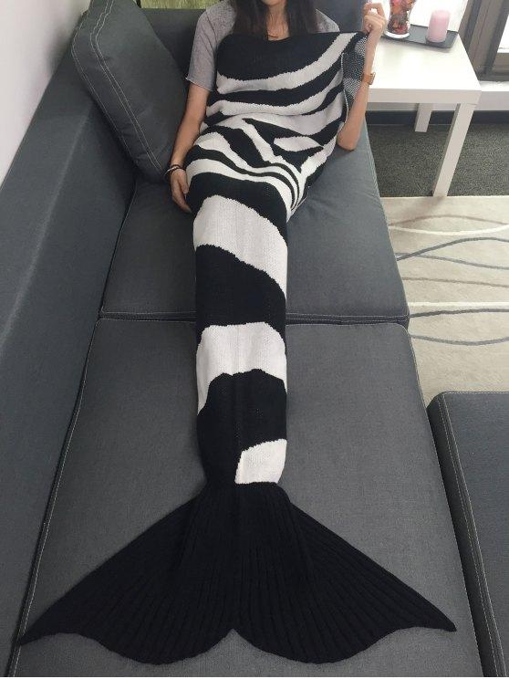 كتلة اللون محبوك حورية البحر الذيل بطانية - أبيض وأسود