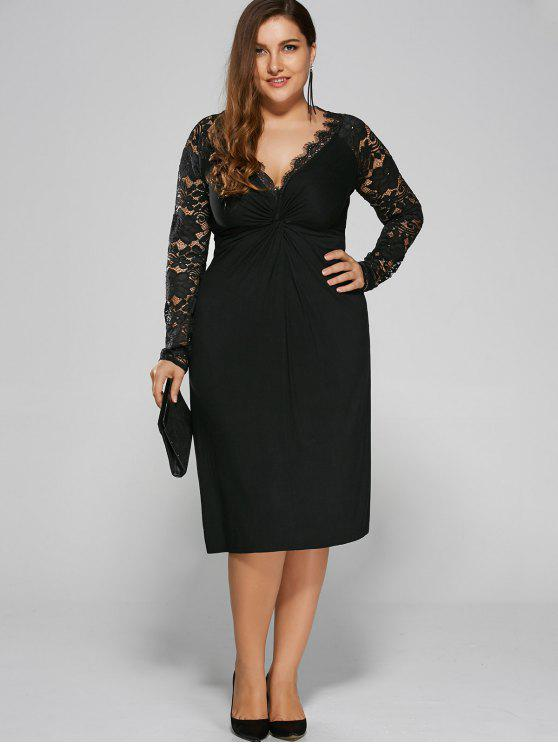 5171bc00c80 34% OFF  2019 Plus Size Twist Front Lace Insert Fitted Dress In ...