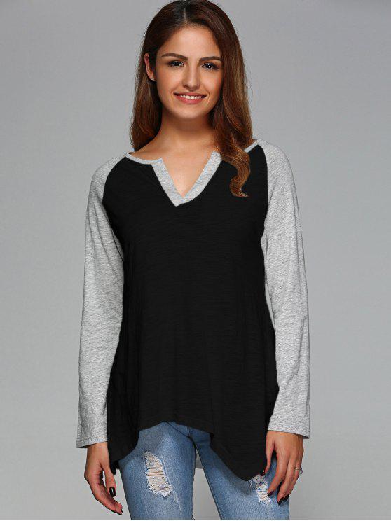 shop Raglan Sleeve Asymmetrical Tee - BLACK L