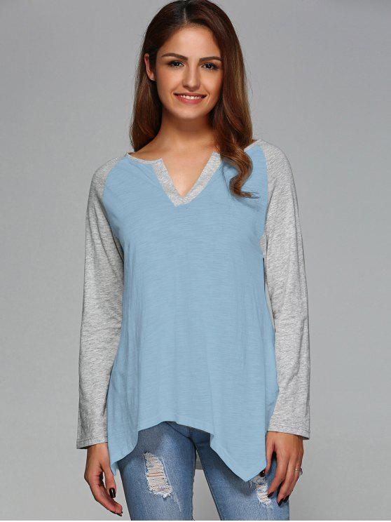 fancy Raglan Sleeve Asymmetrical Tee - LIGHT BLUE L