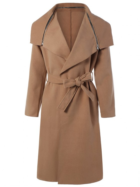affordable Shawl Belted Wool Blend Wrap Coat - KHAKI M