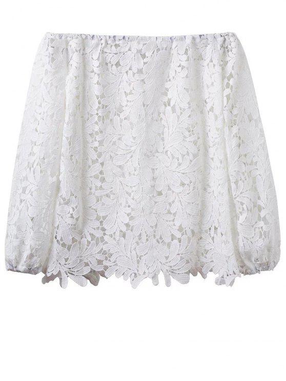 Crochet del hombro de la camiseta - Blanco L