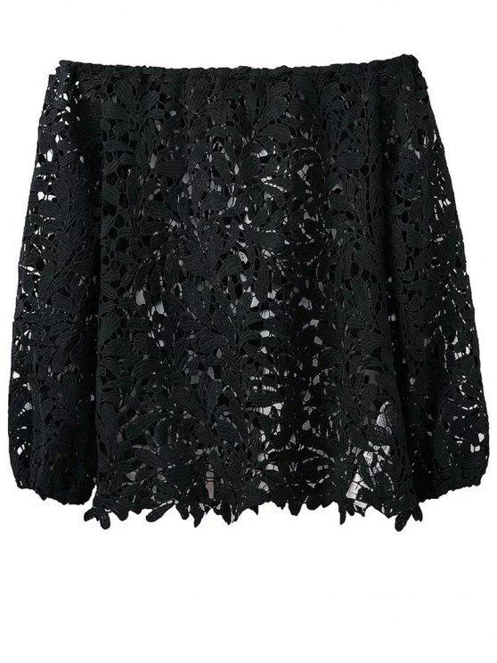 Crochet del hombro de la camiseta - Negro L