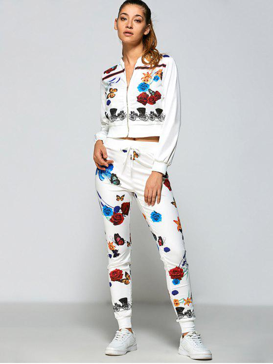 Roses Printed Zipper Up Top + Pantalones - Blanco L
