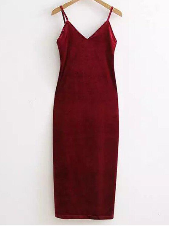 Side Furcal Velour-Beleg-Kleid - Weinrot Eine Größe