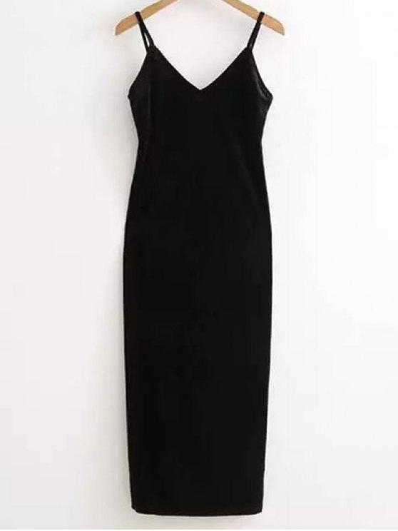 lady Side Furcal Velour Slip Dress - BLACK ONE SIZE