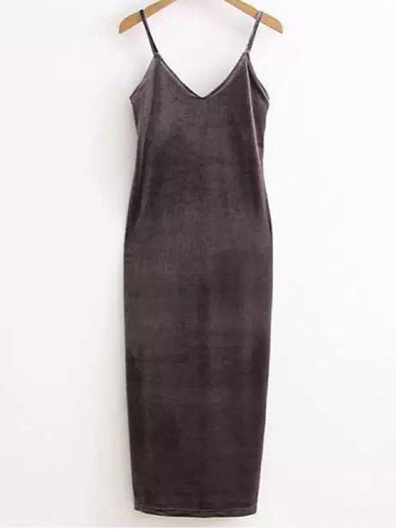 online Side Furcal Velour Slip Dress - GRAY ONE SIZE