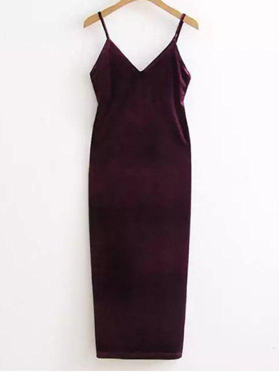 Side Vestido deslizamento Velour Furcal - Roxo Escuro Um Tamanho