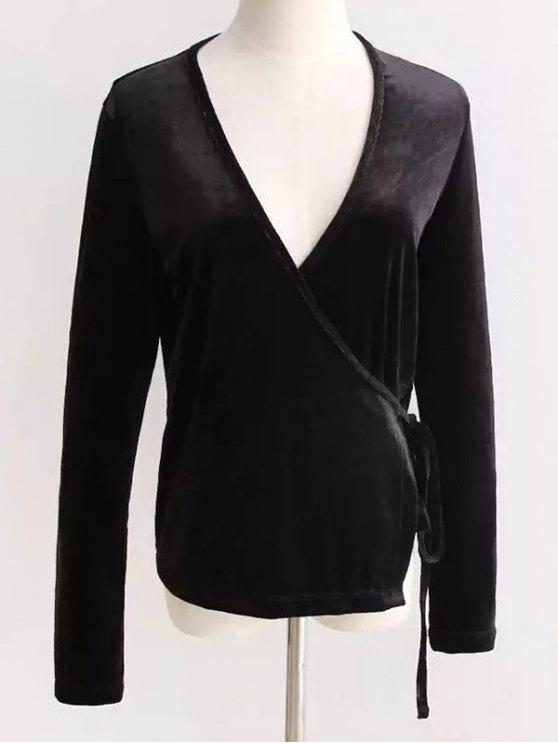 trendy Velour Wrap Top - BLACK ONE SIZE