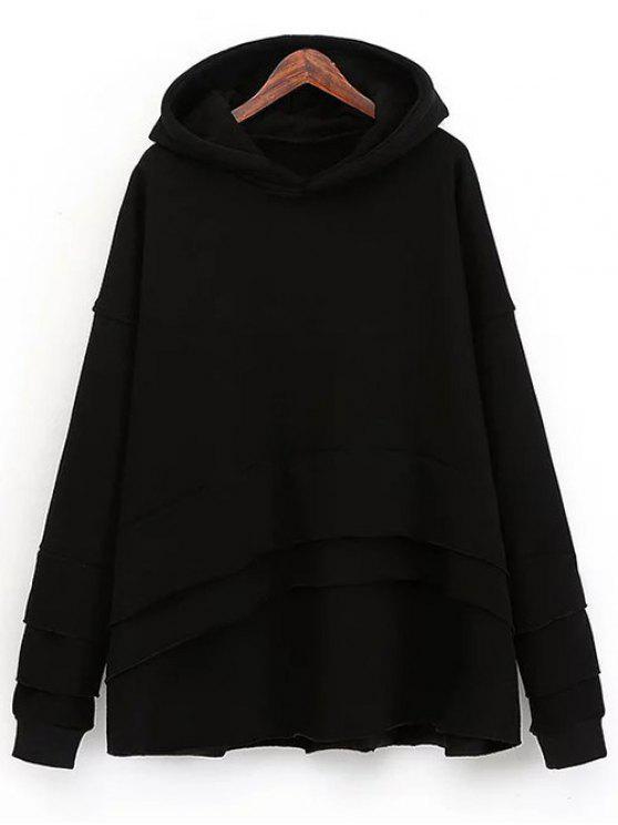 Pull-over en laine à capuche et à effet superposé - Noir Taille Unique