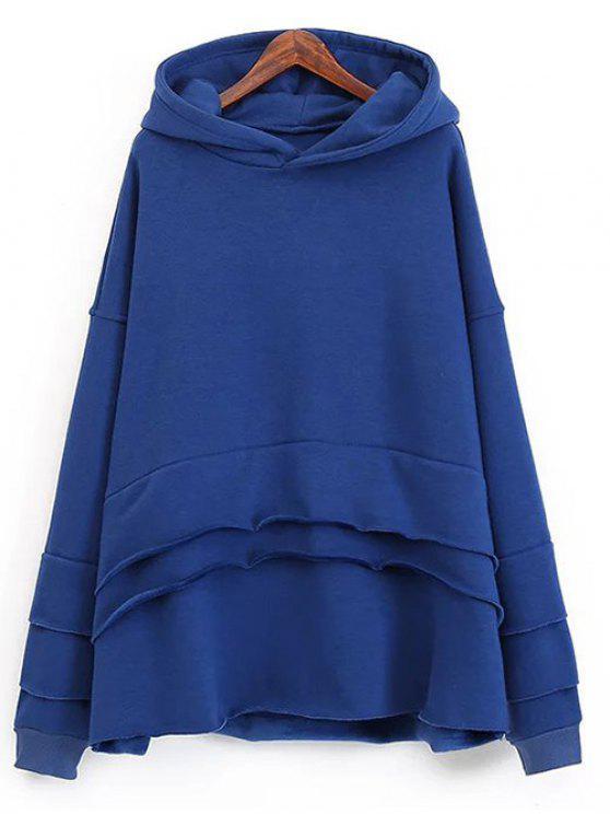 Pull-over en laine à capuche et à effet superposé - Bleu Saphir Taille Unique