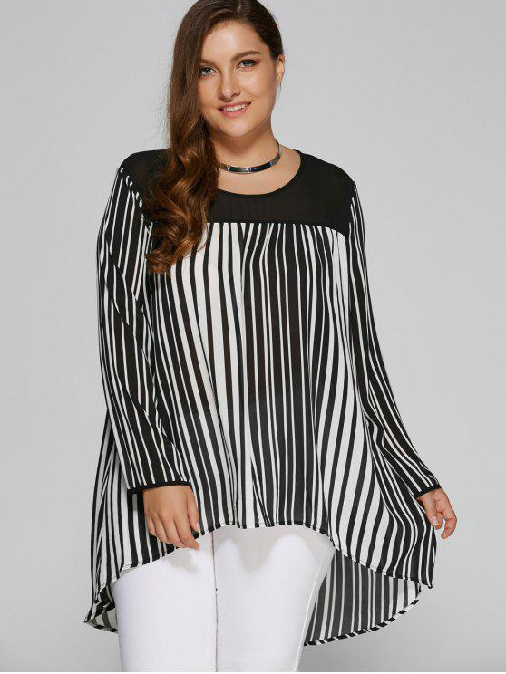 fashion Plus Size Striped Vertical High Low Blouse - WHITE AND BLACK 3XL