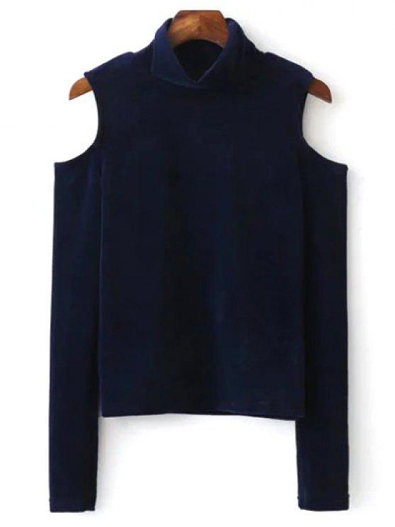 Alto cuello de terciopelo con hombros de la camiseta - Azul Purpúreo L