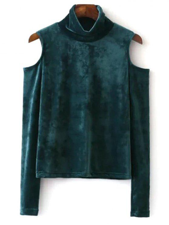 ladies High Neck Cold Shoulder Velour T-Shirt - GREEN S