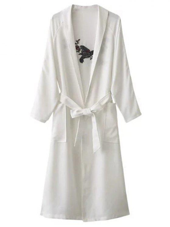 sale Floral Embroidered Belted Duster Coat - WHITE ONE SIZE