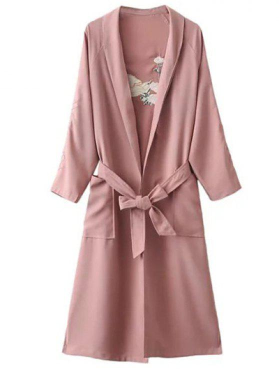 affordable Floral Embroidered Belted Duster Coat - PINK ONE SIZE