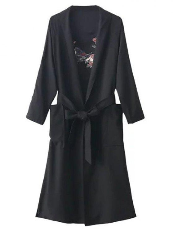 buy Floral Embroidered Belted Duster Coat - BLACK ONE SIZE