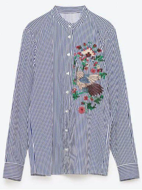 fancy Flower Embroidered Striped Shirt - STRIPE M