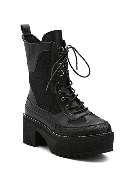 shops Splicing Platform Lace-Up Combat Boots - BLACK 38