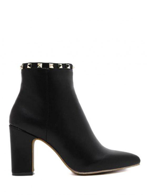 fashion Pointed Toe Rivet Chunky Heel Boots - BLACK 38