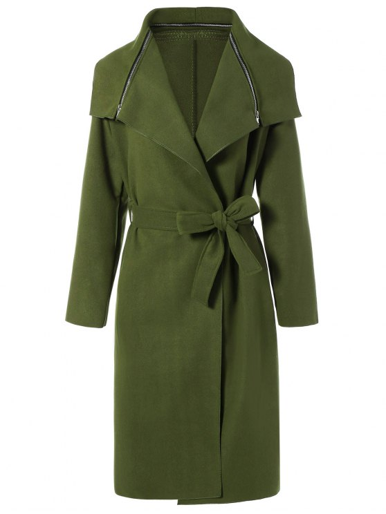 chic Shawl Belted Wool Blend Wrap Coat - ARMY GREEN M