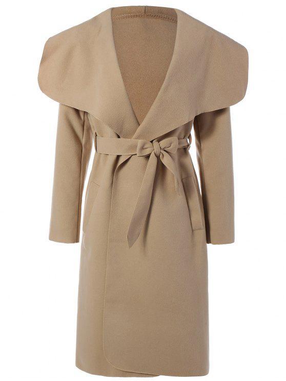 women Shawl Lapel Belted Wrap Coat - KHAKI M