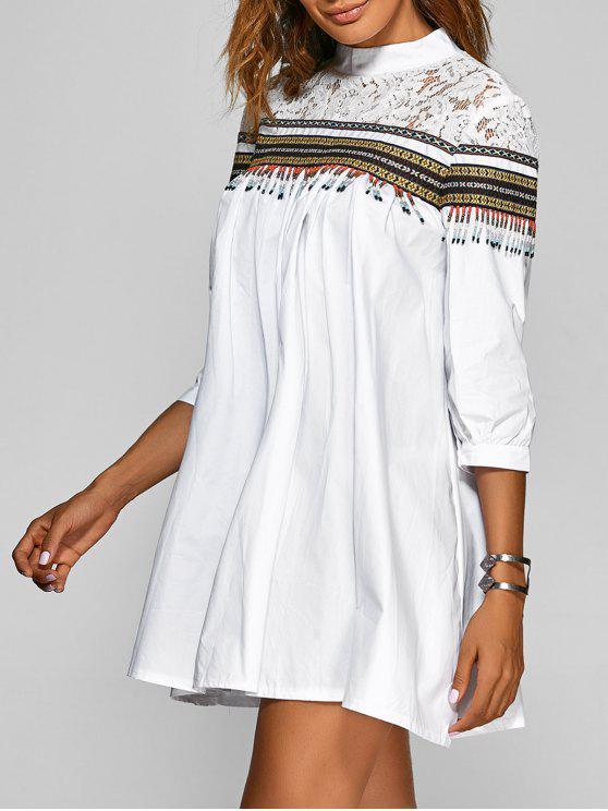 Beaded Lace Spliced Trapeze Dress - Blanco Única Talla