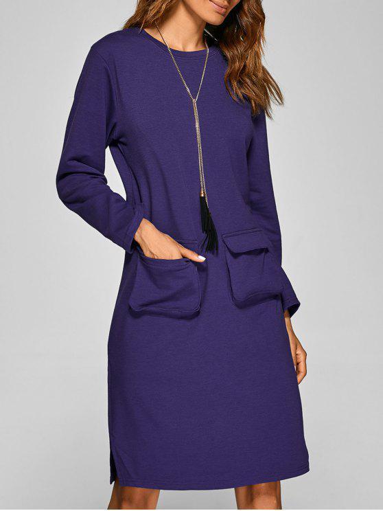 women Long Sleeve Big Pockets Slit Dress - VIOLET S