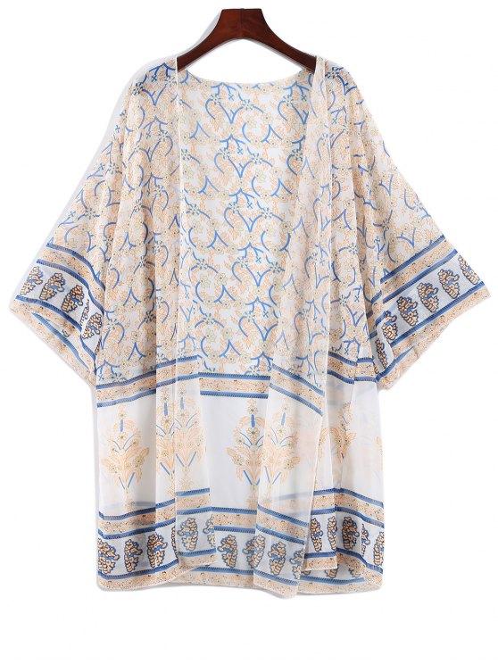 women's Printed Bohemian Chiffon Cover Up - APRICOT ONE SIZE