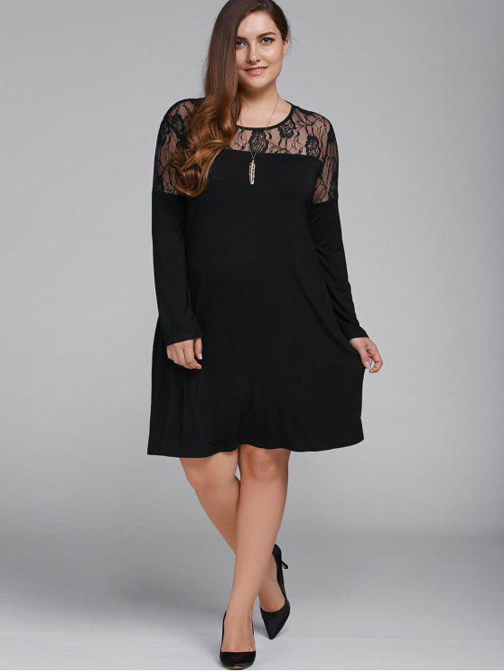 Plus Size Long Sleeves Lace Patchwork Dress Black Long Sleeve