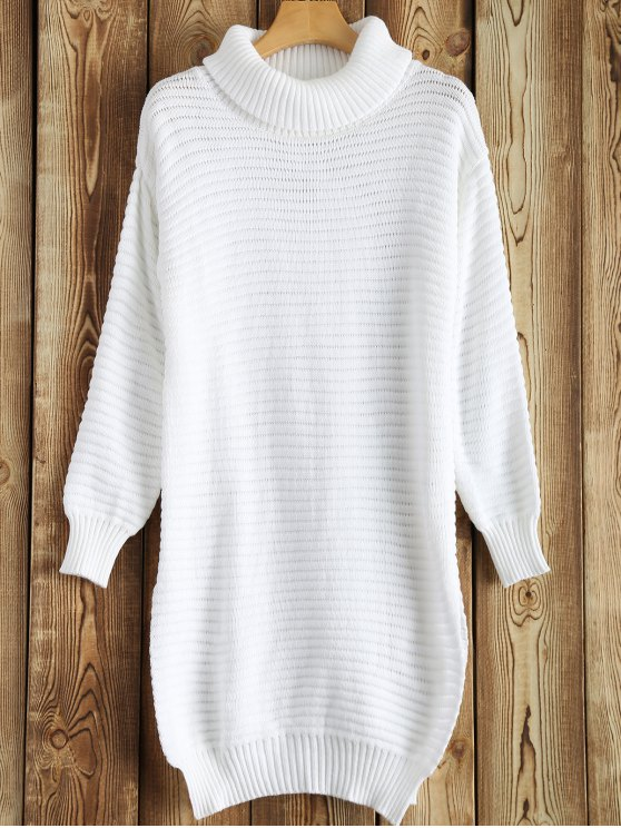 new Side Furcal Turtle Neck Sweater Dress - WHITE L