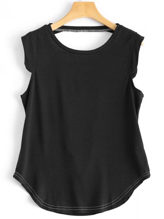 Manga Voltar Entalhe Camiseta - Preto S