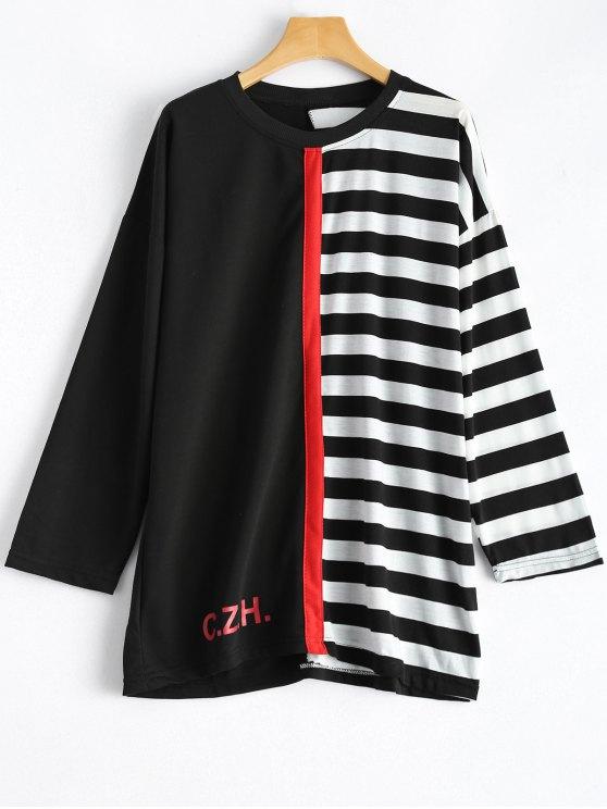 Rayas del bloque del color de la camiseta - Blanco y Negro Única Talla