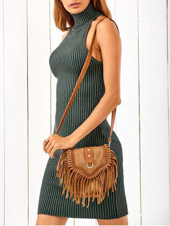 shop Crisscross Back Sleeveless Sweater Dress - GREEN ONE SIZE