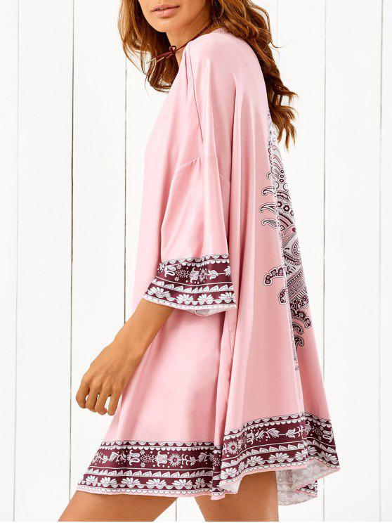 lady Printed Beach Cover Up - PINK ONE SIZE