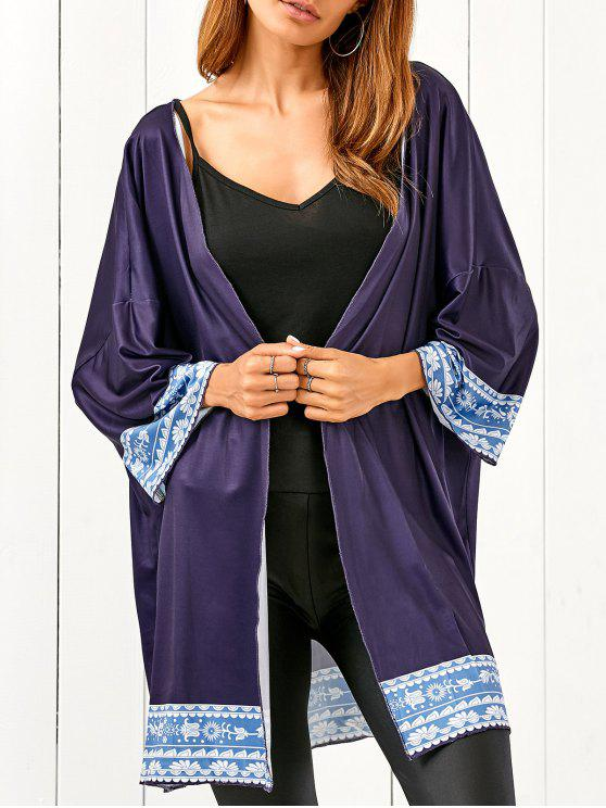 online Printed Beach Cover Up - BLACK BLUE ONE SIZE