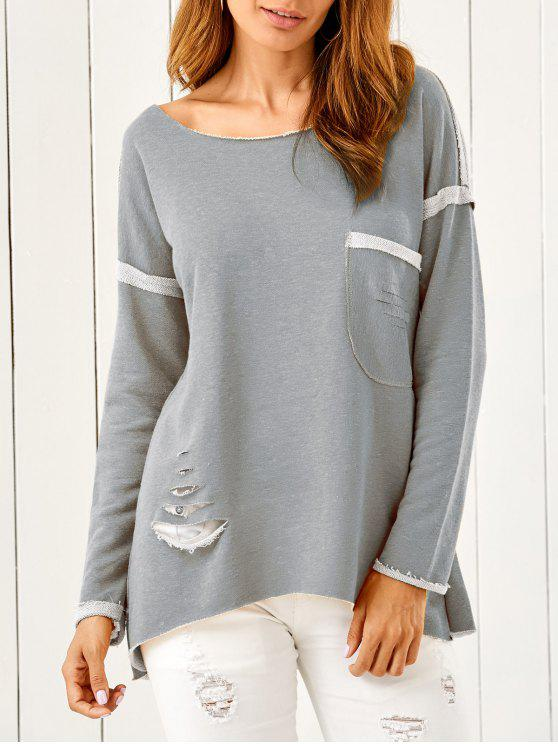 High Low Ripped Sweatshirt - Gris Taille Unique