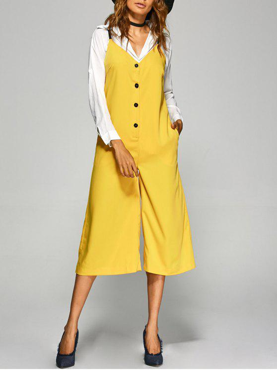 outfit Buttoned Wide Leg Jumpsuit - YELLOW 2XL