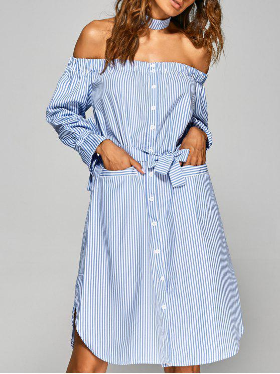 womens Striped Off The Shoulder Shirt Dress - STRIPE M