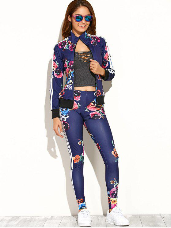 women Flower Printed Zipper Up Top+Pants - DEEP BLUE S