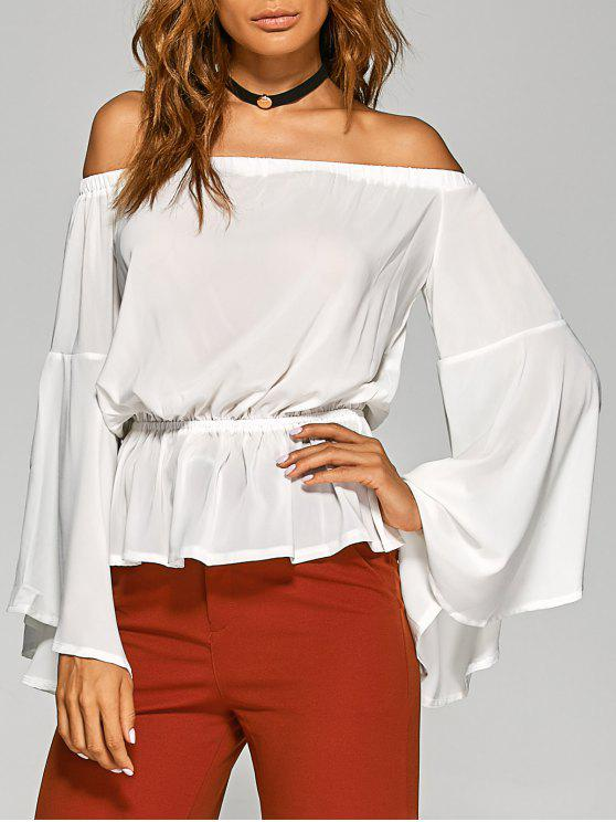 women's Bell Sleeves Off The Shoulder Top - WHITE XL