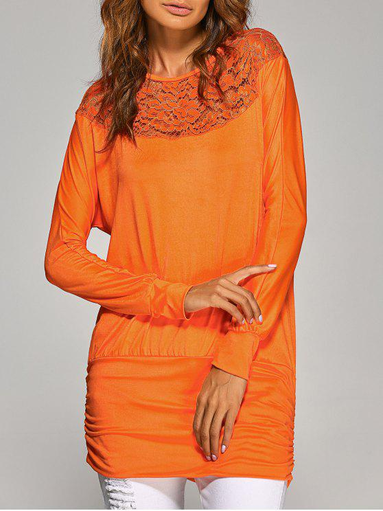 womens Lace Yoke Long Sleeve T-Shirt - ORANGE M