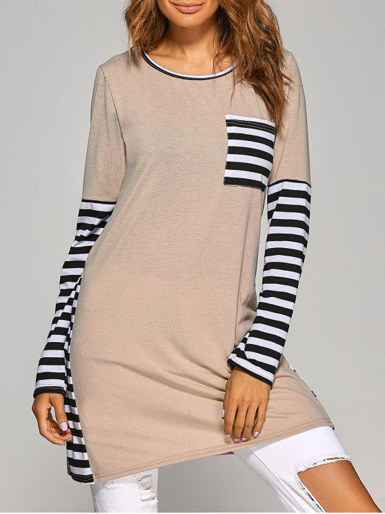 unique Contrasting Stripe Long Sleeve T-Shirt Dress - KHAKI M
