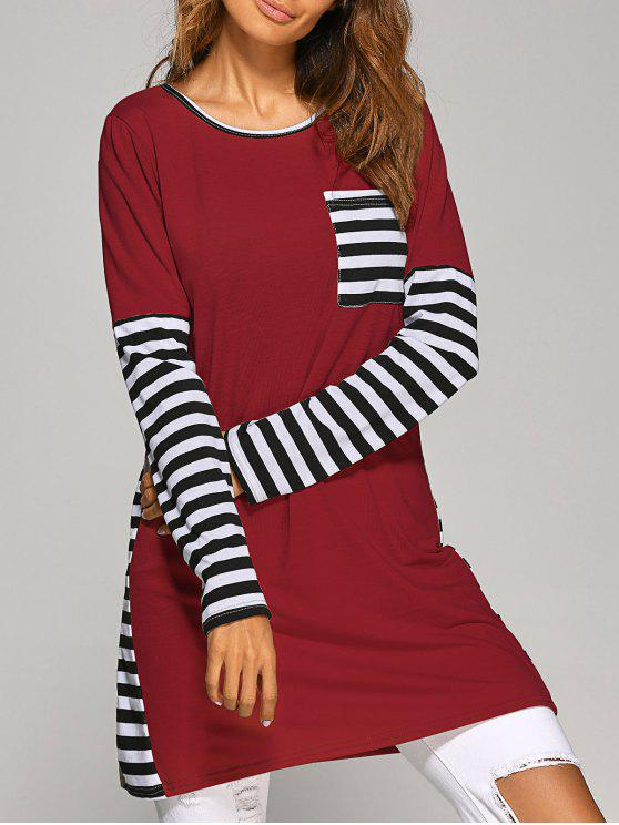 Kontrastierendes T-Shirt Kleid mit Streifen und Langarm - Weinrot L