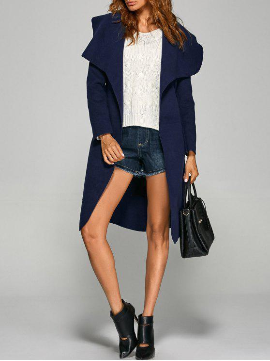 lady Shawl Lapel Belted Wrap Coat - PURPLISH BLUE L