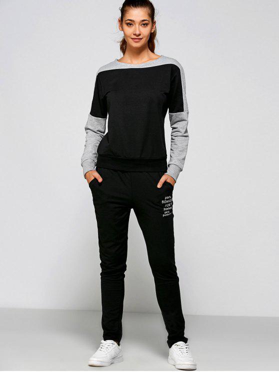 ladies Letter Print Sweatshirt and Pants - BLACK 2XL